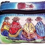 12 Small leather coin purse, souvenirs from Peru