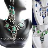 12 Peruvian Stone & Murano Necklace earrings