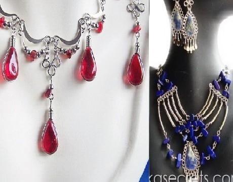 30 Peruvian Stone & Murano Necklace earrings