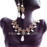 12 Sets bronze necklace earrings w/Peruvian Stone