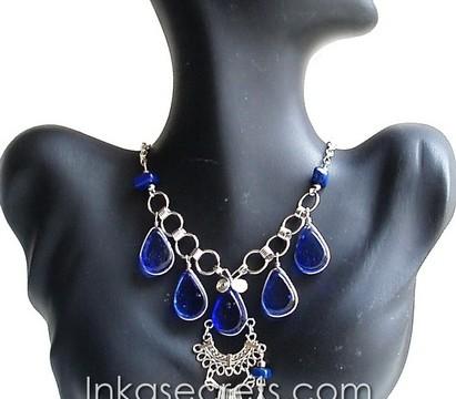 50 Peruvian Alpaca Silver Necklace w/Murano Glass