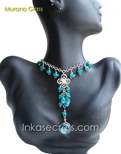 100 Peruvian Alpaca Silver Necklace w/Murano
