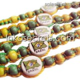 500 Brasil flag friendship bracelets w/ceramic