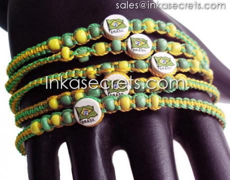 2000 Brasil flag friendship bracelets w/ceramic