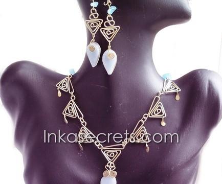 25 Sets bronze necklace earrings w/Peruvian Stone