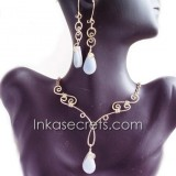 100 Set bronze necklace earrings w/Peruvian Stone
