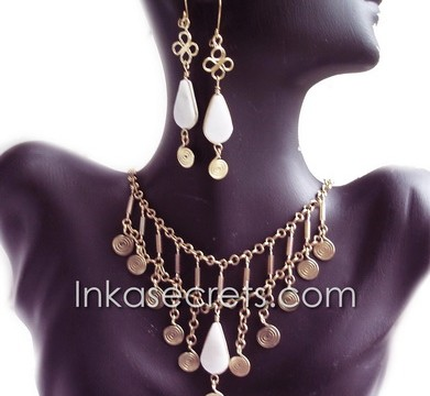 50 Sets bronze necklace earrings w/Peruvian Stone