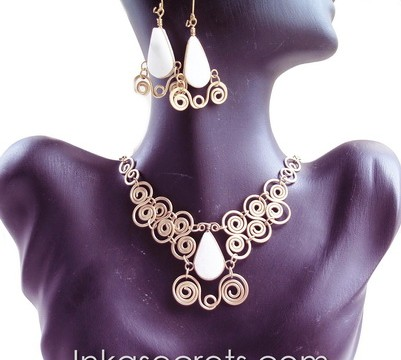 50 Sets of bronze necklace earrings with Stone