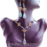 100 Sets of bronze necklace earrings with Stone