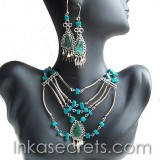10 Peruvian Turquoise Stone Necklace Earrings