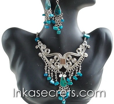 20 Peruvian Turquoise Stone Necklace Earrings