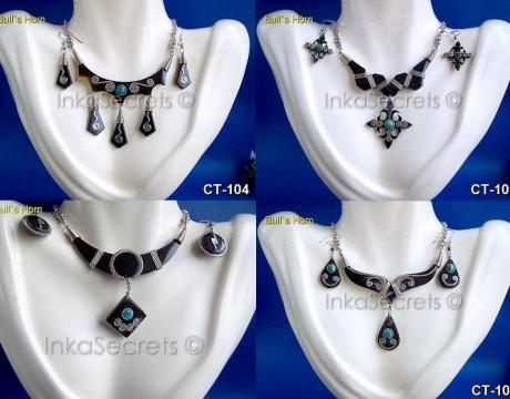 100 Ethnic Bulls Horn Earrings Necklace Sets