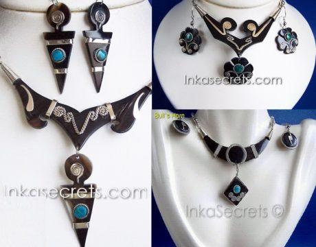 200 Ethnic Bulls Horn Earrings Necklace Sets