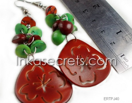 300 Tagua earrings with Flower designs
