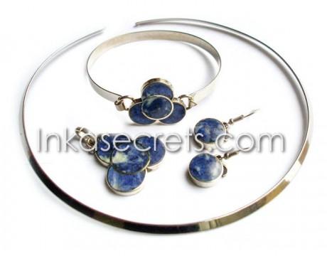 01 Sets Necklace Bracelet Earrings w Sodalite Stone