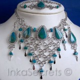 25 Stone Necklace Bracelet Earrings Set Peruvian
