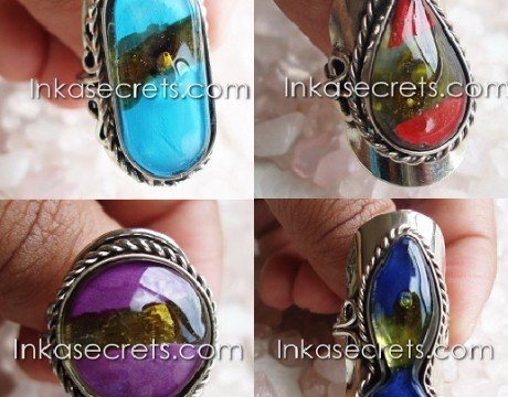 08 Fused Glass Rings w Alpaca Silver