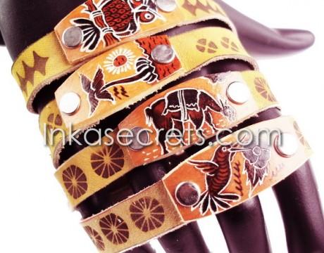08 Peruvian Leather Sheepskin Bracelets