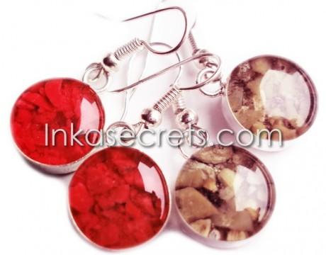 12 Peruvian Earrings Handmade Mixed Stone