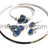 01 Sets Necklace Bracelet Earrings w Sodalite Stone