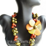 01 Orange/green Flower Tagua Necklace