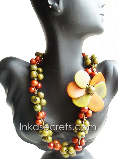 01 Orange/green Flower Tagua Necklace