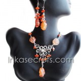 06 Sets of necklaces earrings Agate Stone