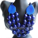 01 Blue Necklace and Earring Set, Tagua