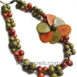 10 Tagua beaded necklaces (NKTPJ105)