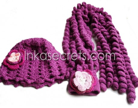 01 Set of alpaca wool hat and scarf