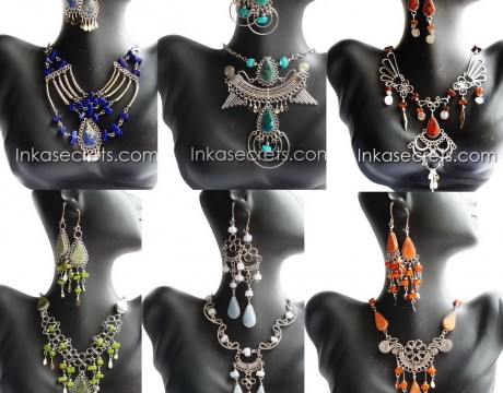 100 Stone Necklace and Earrings Set