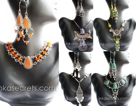 200 Stone Necklace and Earrings Set