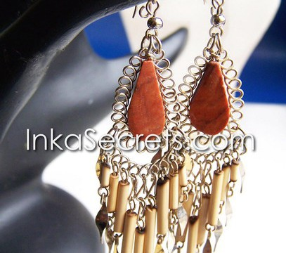 10 Bamboo Design Peruvian Stone Earrings