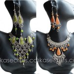 15 Stone Necklace Earrings Set