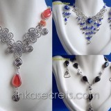 100 Set alpaca necklace & earrings w/Murano