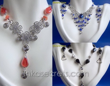 100 Alpaca necklace earrings with Murano Glass
