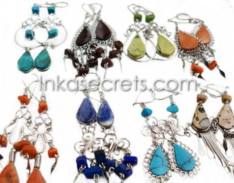 500 Alpaca earrings with semi-precious stone