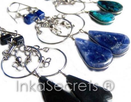 100 Alpaca earrings with semi-precious stone