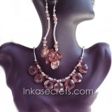 01 Set of Necklace Earrings w/ Zirconia Amber