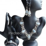 01 Set of Necklace Bracelet Earrings w Celestine Stone