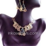 200 Sets bronze necklace & earrings w/stone