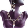 150 Sets bronze necklace & earrings w/stone